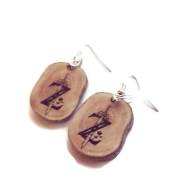Zelda Inspired Necklace Pendant Charm Earrings Keyring Personalised Natural Handmade Brown Wooden Boho #Zelda