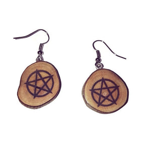 Pentagram Celtic Knot Pentacle Engraved Necklace Pendant Handmade Wooden Charm Natural Personalised Necklace Earrings Keyring Charms #Pentagram