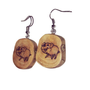 Pig Earrings Piggy Piglet Natural Earrings Handmade Brown Wooden Boho #Pig