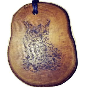Owl Necklace Pendant Handmade Wooden Charm Natural Necklace Earrings Keyring Charms #Owl