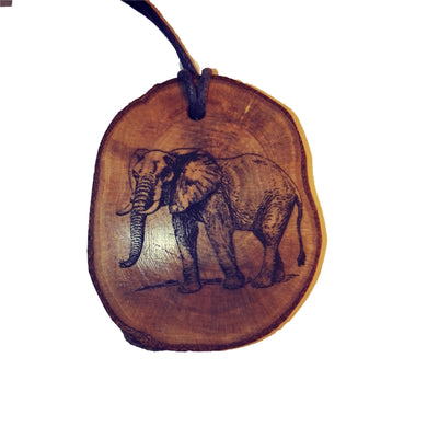 African Elephant choker Pendant Handmade Wooden Charm Natural Personalised Necklace Earrings Keyring Charms #Handmade