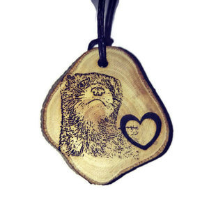 Ferret Love Heart Polecat choker Pendant Handmade Wooden Charm Natural Personalised Necklace Earrings Keyring Charms #Handmade