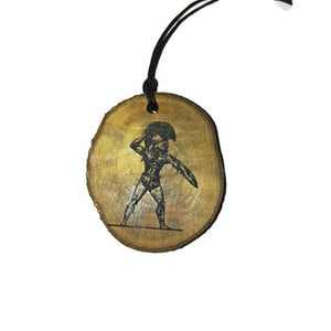 Spartan Soldier choker Pendant Handmade Wooden Charm Natural Personalised Necklace Earrings Keyring Charms #Handmade