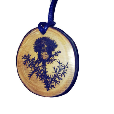 Thistle flower Necklace Pendant Wooden Charm Natural Necklace Earrings Keyring Charms #Thistle