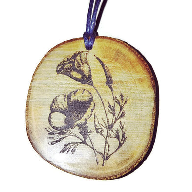 Californian Poppy Wild Flower Necklace Pendant Wooden Charm Natural Necklace Earrings Keyring Charms #Poppy