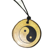 Yin Yang Necklace Pendant Earth Chinese Peace Symbol Good Luck  Wooden Charm Natural Necklace Earrings Keyring Charms #YinYang