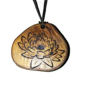 Water Lily flower Necklace Pendant Wooden Charm Natural Necklace Earrings Keyring Charms #WaterLily