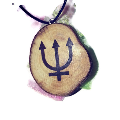 Neptune Celestial Symbol Planet Necklace Pendant Wooden Charm Natural Necklace Earrings Keyring Charms #Celestial