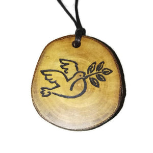 Dove with olive branch Bird of Peace symbol Christian religious Necklace Pendant Handmade Wooden Charm Natural Personalised Necklace Earrings Keyring Charms #Dove