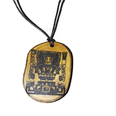 Alien Astronaut Gateway of the Sun Handmade Wooden Necklace #AncientAliens