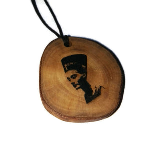 Nefertiti Great Royal Wife Egyptian Deities God Perfection Egyptian Deities God Necklace Wooden Charm Pendant #Nefertiti
