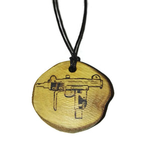 Uzi Submachine Gun Natural Necklace Bangle Earrings Keyring Charms Wooden Charm  #GamerGift