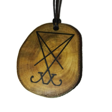 Sigil of Satan choker Pendant Handmade Wooden Charm Natural Personalised Necklace Earrings Keyring Charms #Handmade