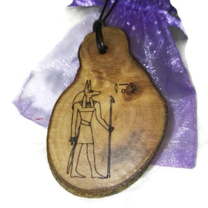 Anubis Egyptian Deities Anubis god of embalming and the dead Necklace Wooden Charm  #Anubis