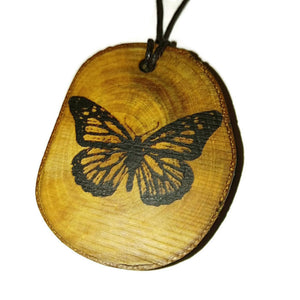 Monarch Butterfly Necklace Pendant Handmade Wooden Charm Natural Personalised Necklace Earrings Keyring Charms #Butterfly