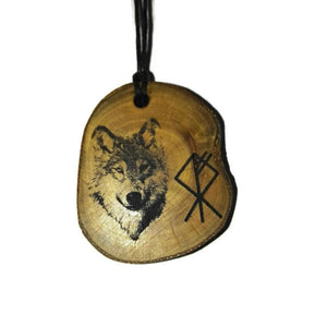 Timber Wolf Rune choker Pendant Handmade Wooden Charm Natural Personalised Necklace Earrings Keyring Charms #Handmade