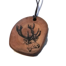 Deer Stag Necklace Pendant Handmade Wooden Charm Natural Personalised Necklace Earrings Keyring Charms #Stag