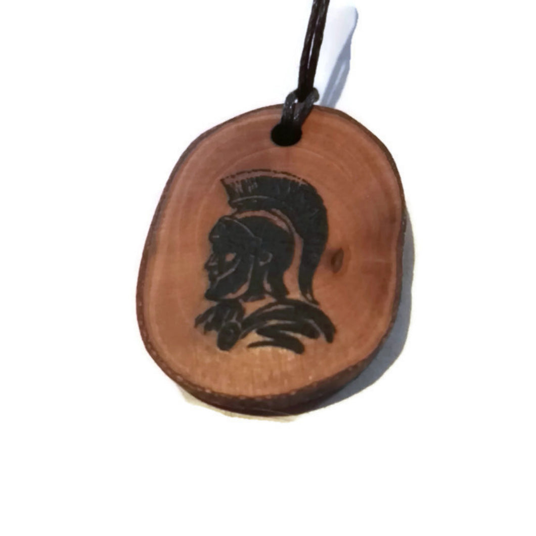 Roman Soldier helmet choker Pendant Handmade Wooden Charm Natural Personalised Necklace Earrings Keyring Charms #Handmade