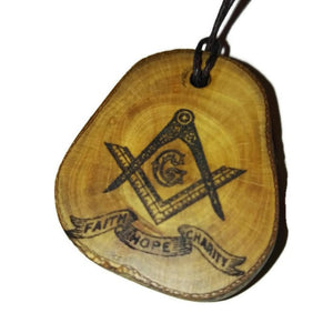 Freemason Faith Hope Charity choker Pendant Handmade Wooden Charm Natural Personalised Necklace Earrings Keyring Charms #Handmade