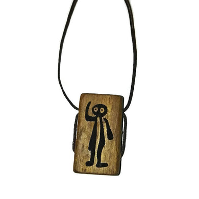 Nazca Lines Astronaut Geoglyph Necklace Handmade Wooden Engraved Charm Pendant #Astronaut #Nazca