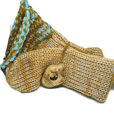 Gold Cream Beige Brown Blue Colour Mix Handmade Socks by Retrosheep