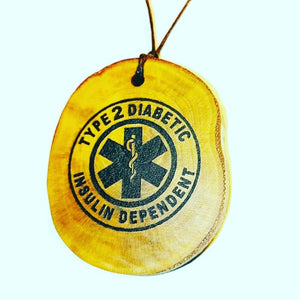 Diabetic Diabetes Type 2 Insulin Dependant Handmade Wooden Necklace Medical Charm #Diabetes