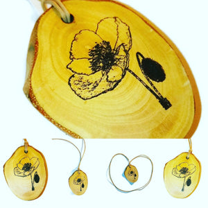 Poppy Wild Flowers Flower Necklace Pendant Wooden Charm Natural Necklace Earrings Keyring Charms #Poppy