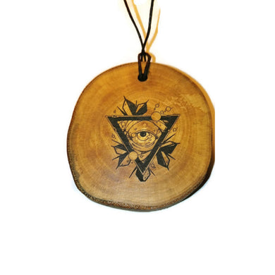 All Seeing Eye choker Pendant Handmade Wooden Charm Natural Personalised Necklace Earrings Keyring Charms #Allseeingeye