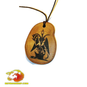 Baphomet Horned God Necklace Wood Charm Pendant #Baphomet