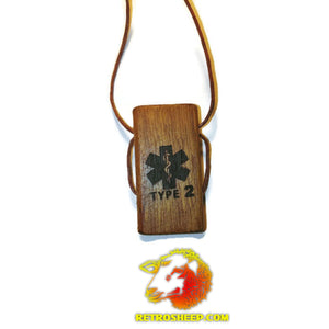 Diabetic Diabetes Insulin Dependant Handmade Wood Necklace Medical Charm #Diabetes