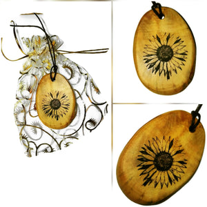 Daisy flower Necklace Pendant Wooden Charm Natural Necklace Earrings Keyring Charms #Daisy