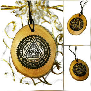 Eye of Providence Masonic symbol Handmade Necklace Wooden Charm Pendant #eyeofprovidence