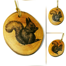Red Squirrel Necklace Pendant Handmade Wooden Charm Natural Personalised Necklace Earrings Keyring Charms #Squirrel