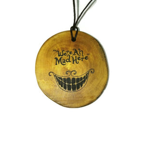 Cheshire Cat choker Pendant Handmade Wooden Charm Natural Personalised Necklace Earrings Keyring Charms #Handmade