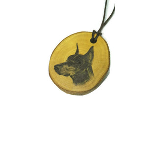 Doberman Dog choker Pendant Handmade Wooden Charm Natural Personalised Necklace Earrings Keyring Charms #Handmade
