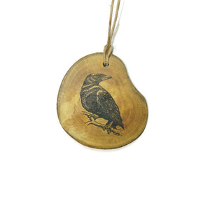 Common Northern Raven Bird Necklace Pendant Handmade Wooden Charm Natural Personalised Necklace Earrings Keyring Charms #Raven