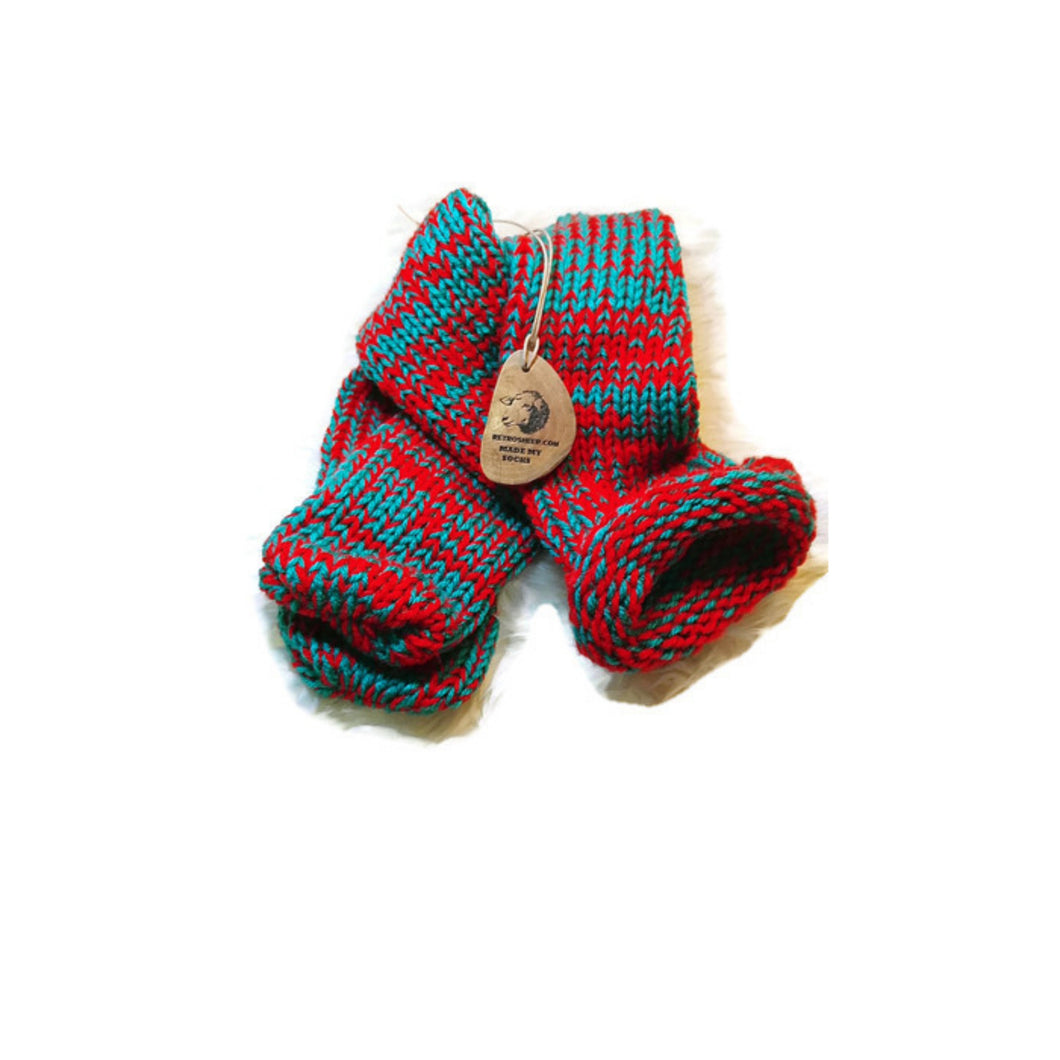 Christmas Red and Green Knitted Handmade Wool Unisex bed sofa Socks Casual Novelty Custom Personalised Unisex Socks #Socks #Retro