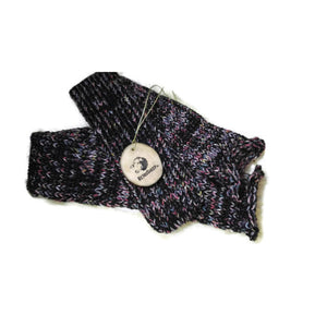 Black Pink Lilac Rainbow Mix Handmade Hand Knit Wool Socks