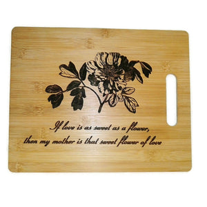 Peony Flower Mothers Day Stevie Wonder Quote Chopping Board Serving Platter