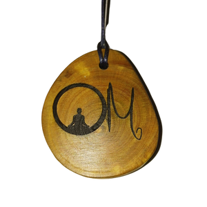 Om Symbol choker Pendant Handmade Wooden Charm Natural Personalised Necklace Earrings Keyring Charms #Handmade