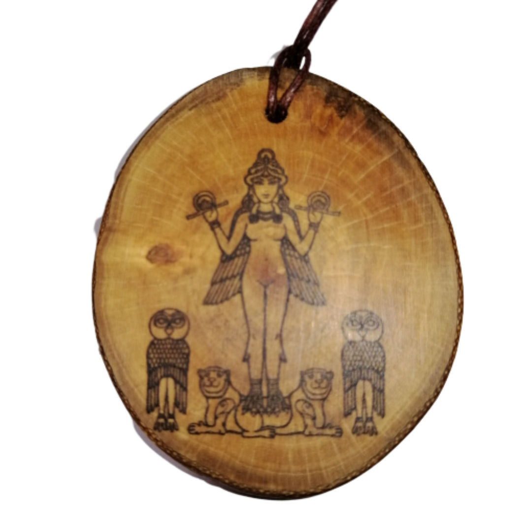 Ishtar Mesopotamian Goddess of War Necklace Pendant Wooden Charm Natural Necklace Earrings Keyring Charms #Ishtar