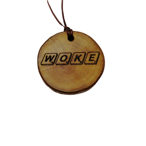 WOKE choker Pendant Handmade Wooden Charm Natural Personalised Necklace Earrings Keyring Charms #Handmade