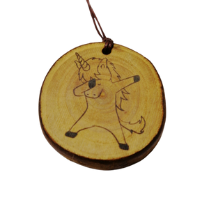 Dabbing Unicorn choker Pendant Handmade Wooden Charm Natural Personalised Necklace Earrings Keyring Charms #Handmade