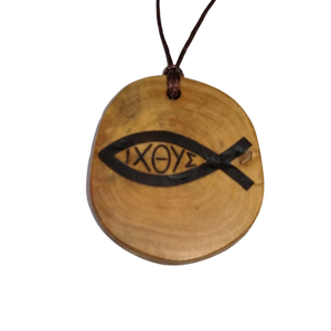 Ichthys Jesus Christ  Pendant Wood Necklace Earrings Keyring #Ichthys