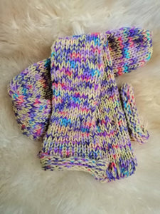 Yellow Pink Rainbow Mix Handmade Hand Knit Wool Socks