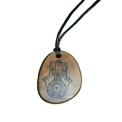 Hamsa Hand Hand of Fatima Good Luck Necklace Charm Wooden Handmade Engraved