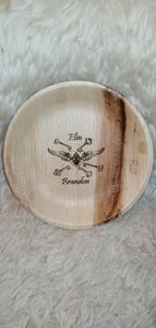 personalised palm leaf key bowl