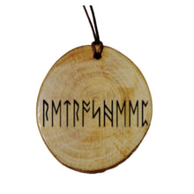 Your Name Engraved Seax Wica Magick Rune Personalised Wood Necklace