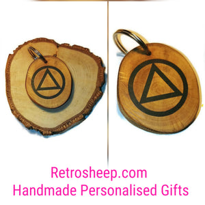 Sobriety Alcoholic Anonymous Necklace Pendant Charm Wooden Handmade #AA