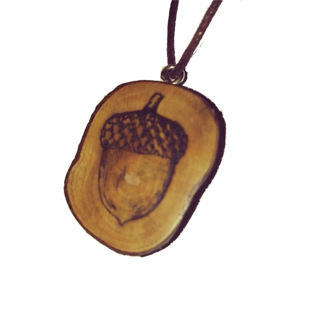 Acorn Oak seed choker Pendant Handmade Wooden Charm Natural Personalised Necklace Earrings Keyring Charms #Handmade
